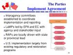 the parties implement agreement