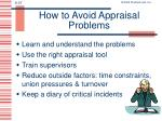 how to avoid appraisal problems