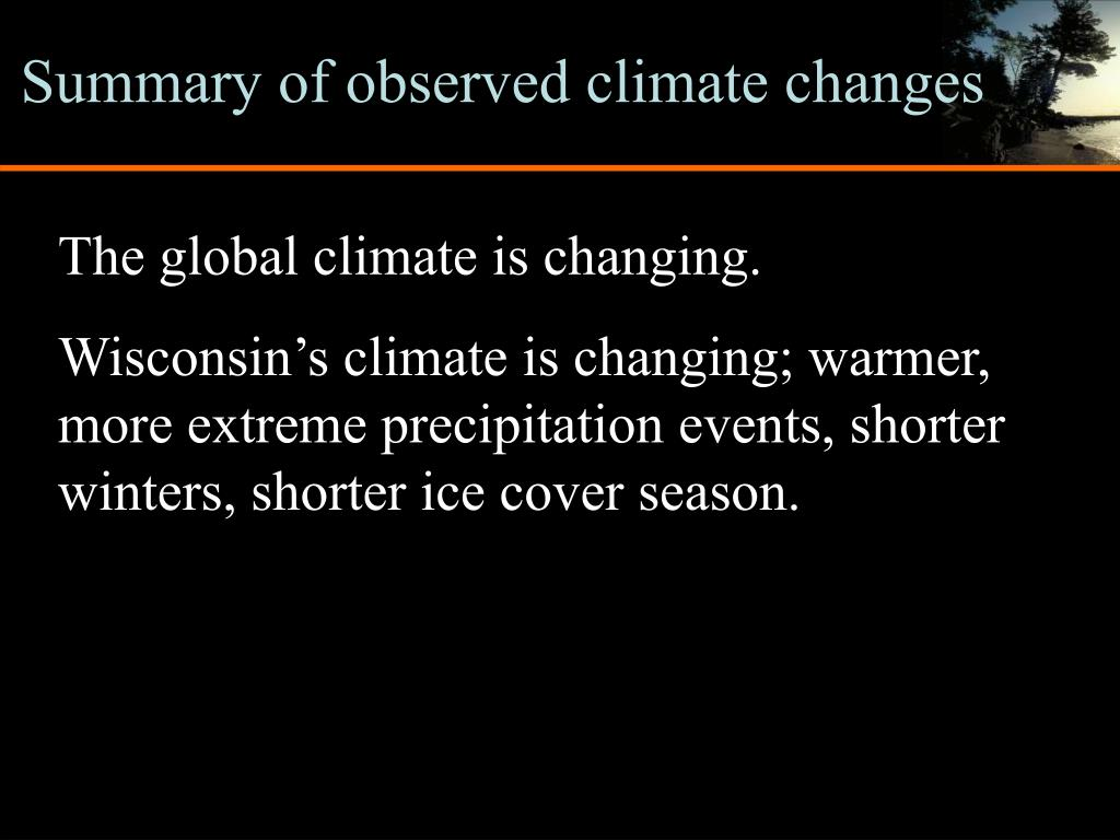 Summary of observed climate changes