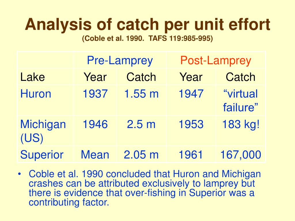 Analysis of catch per unit effort