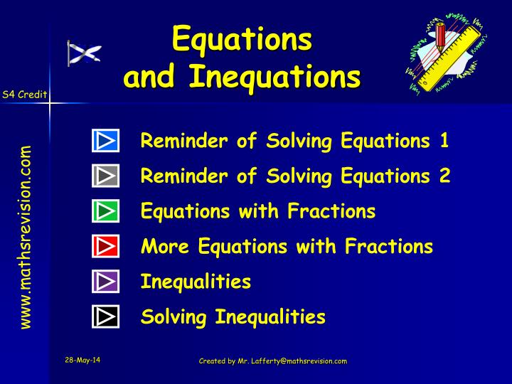 equations and inequations n.
