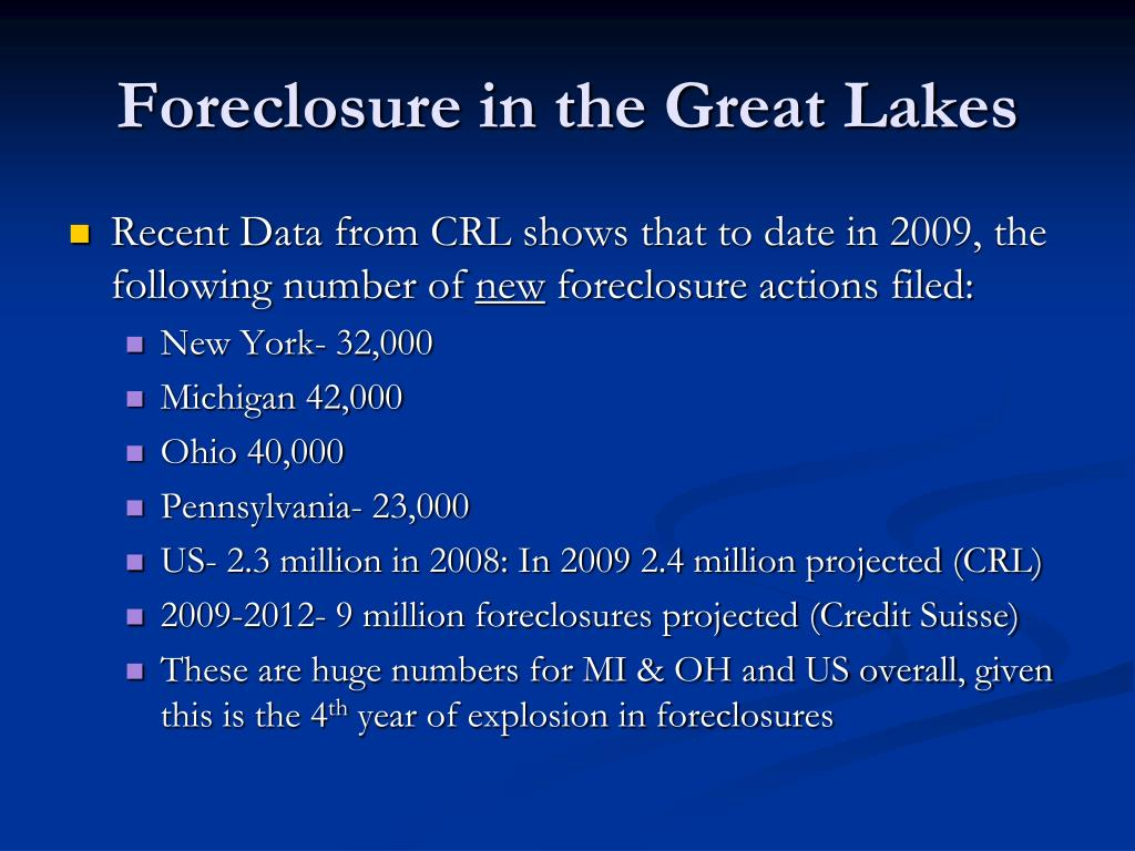 Foreclosure in the Great Lakes