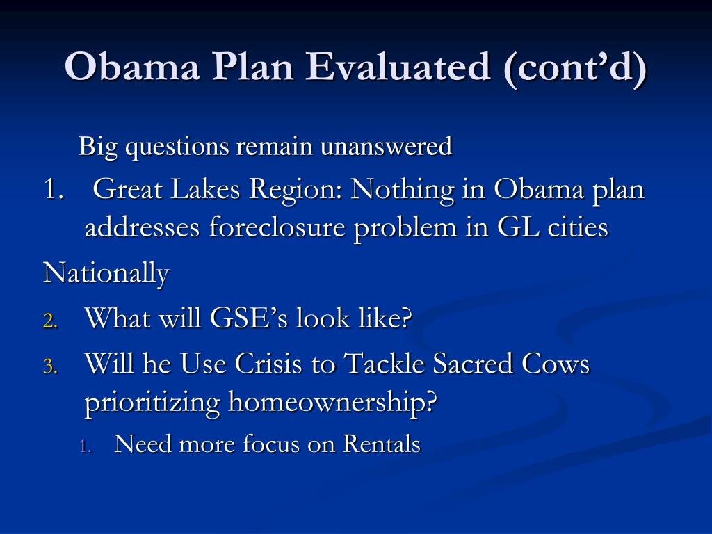Obama Plan Evaluated (cont'd)