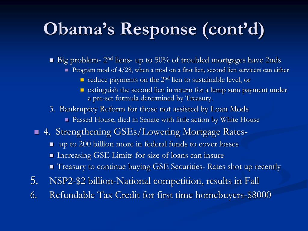 Obama's Response (cont'd)