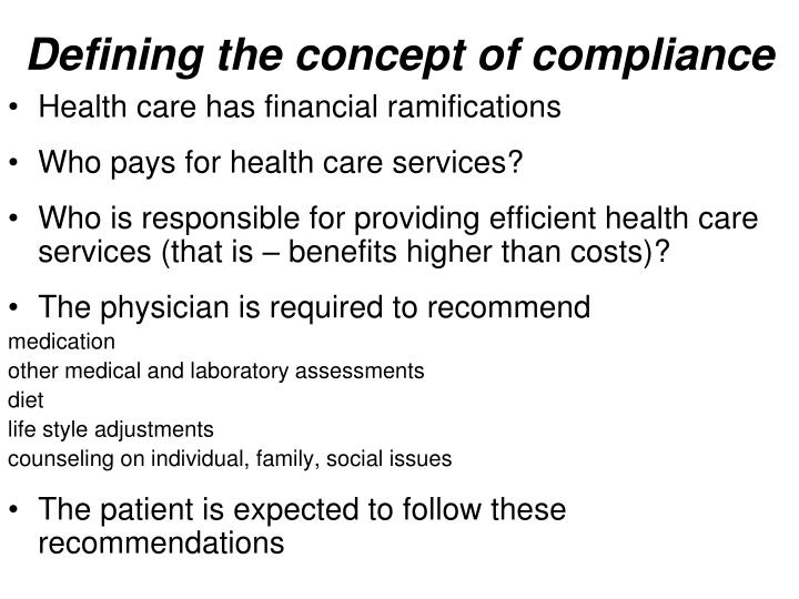 Defining the concept of compliance