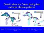 great lakes ice cover during two extreme climate patterns