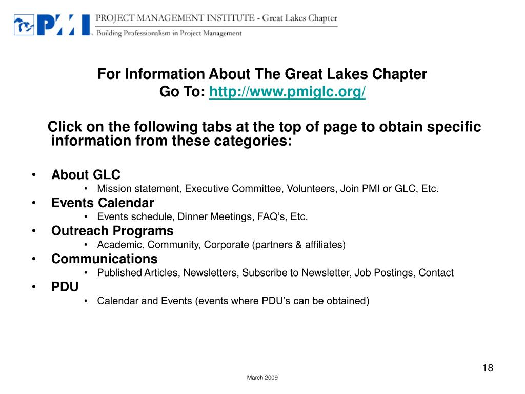 For Information About The Great Lakes Chapter