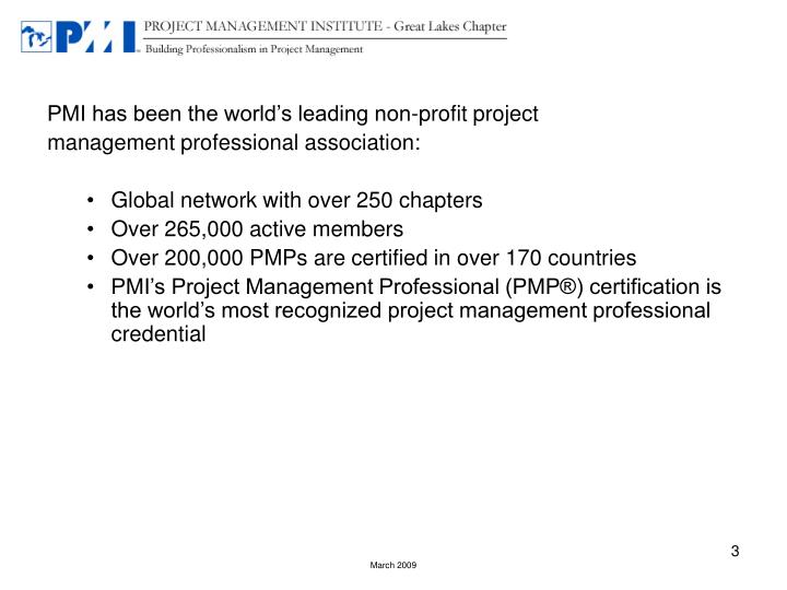 PMI has been the world's leading non-profit project
