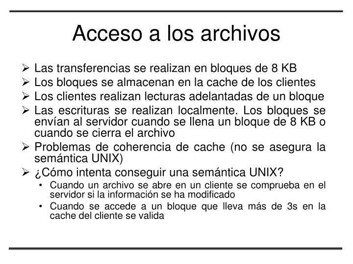 Acceso a los archivos