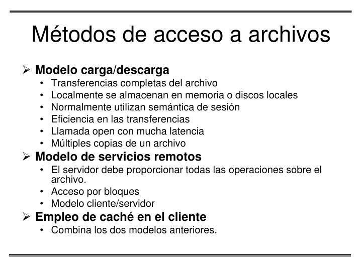 Métodos de acceso a archivos
