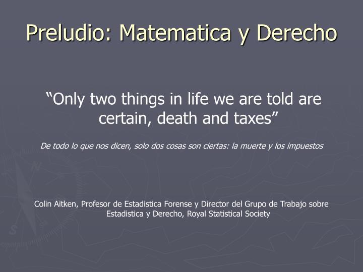 Preludio matematica y derecho