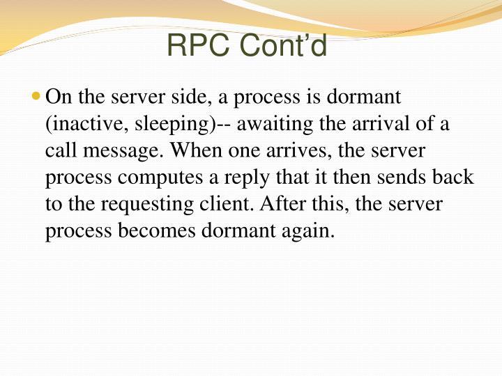 RPC Cont'd