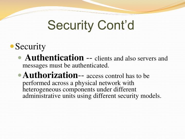Security Cont'd