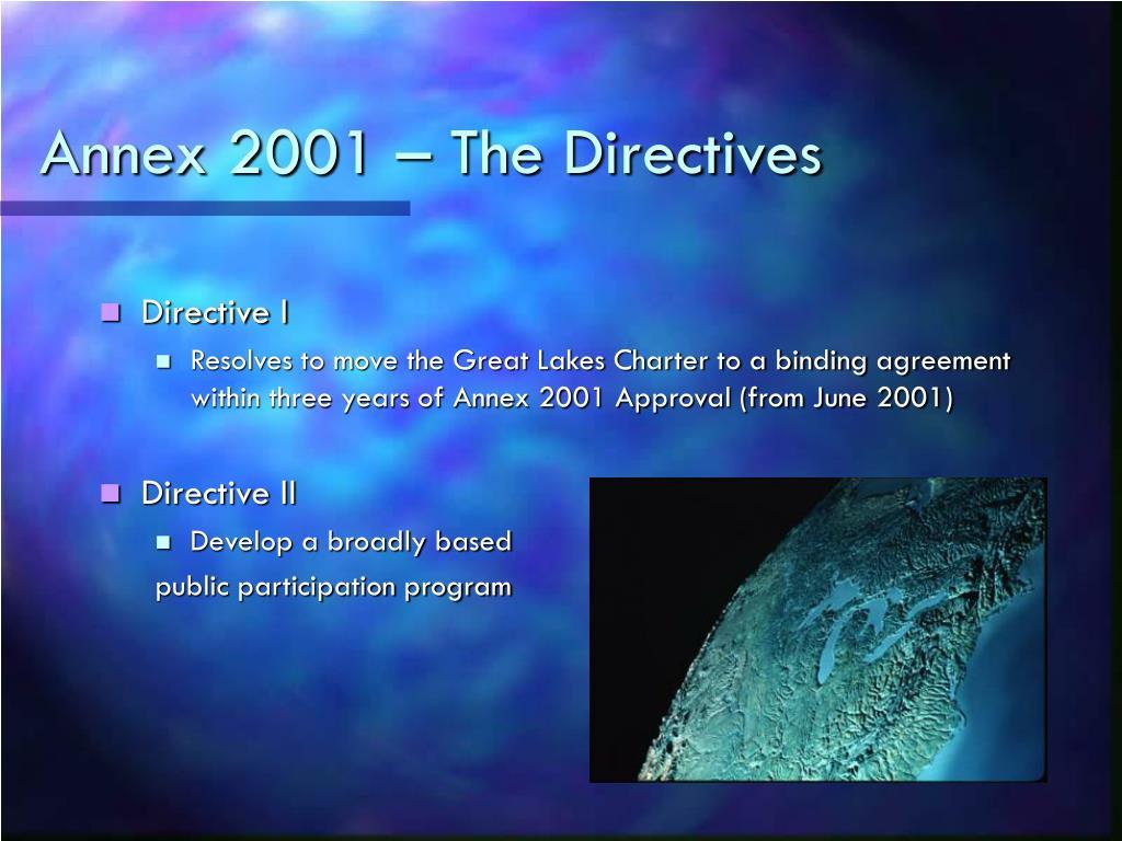 Annex 2001 – The Directives