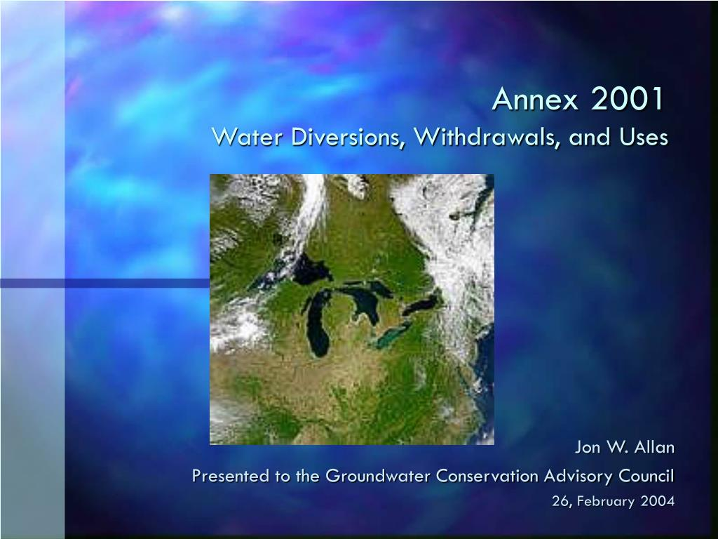 annex 2001 water diversions withdrawals and uses l.