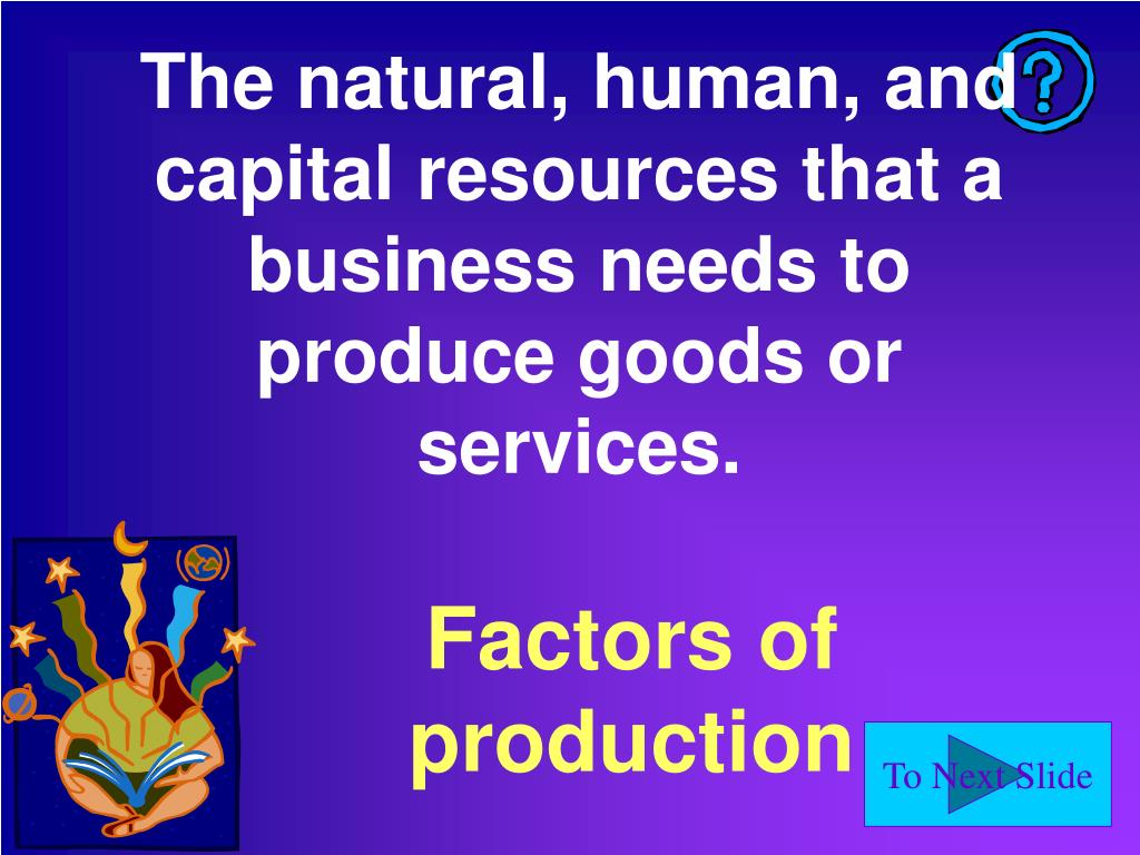 The natural, human, and capital resources that a business needs to produce goods or services.