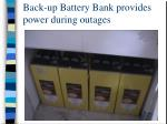 back up battery bank provides power during outages