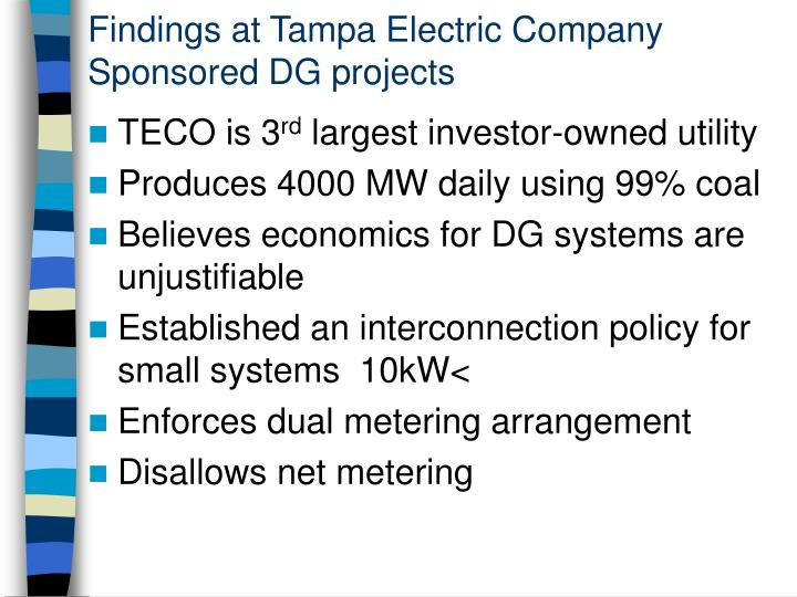 Findings at Tampa Electric Company