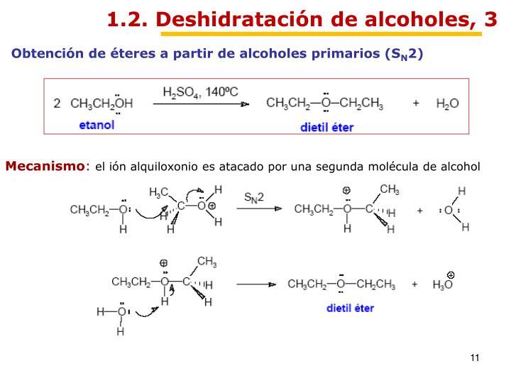 1.2. Deshidratación de alcoholes, 3