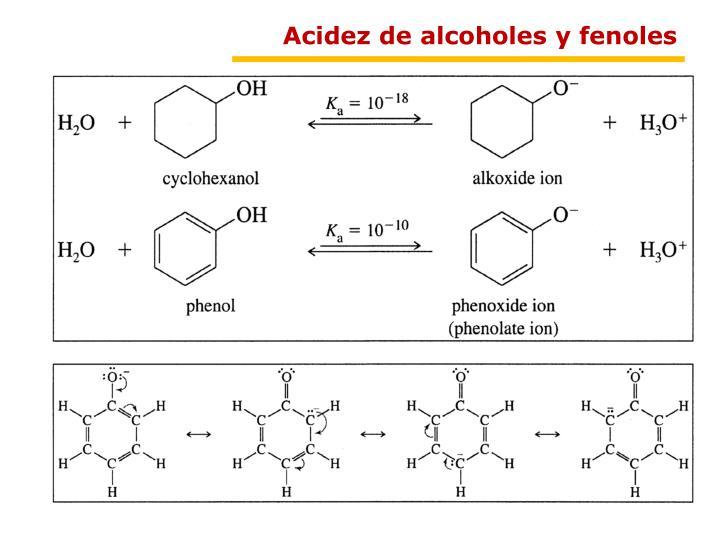 Acidez de alcoholes y fenoles