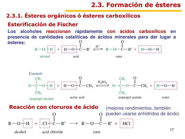 2.3. Formación de ésteres