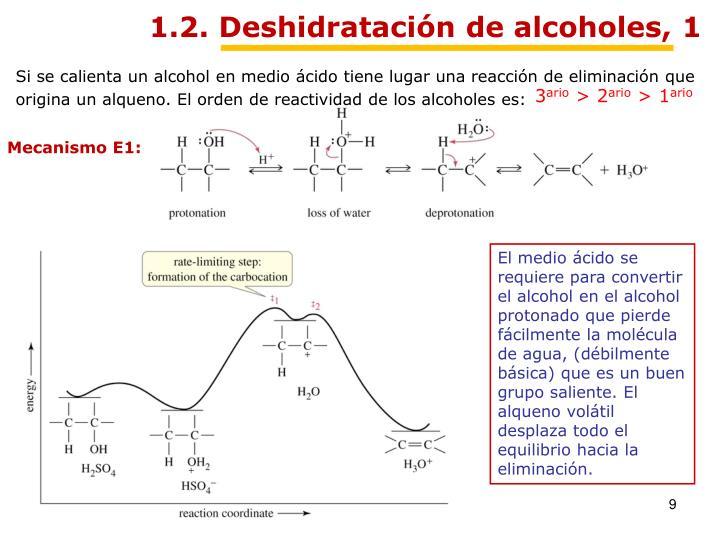 1.2. Deshidratación de alcoholes, 1