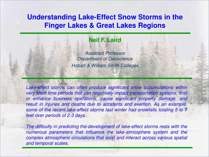 Understanding Lake-Effect Snow Storms in the