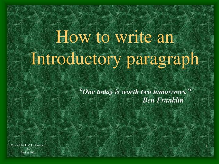 how to write an introductory paragraph n.