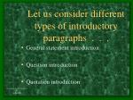 let us consider different types of introductory paragraphs