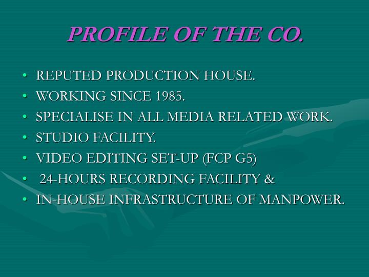 Profile of the co
