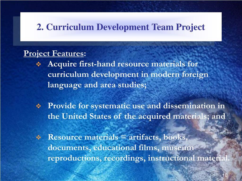 2. Curriculum Development Team Project