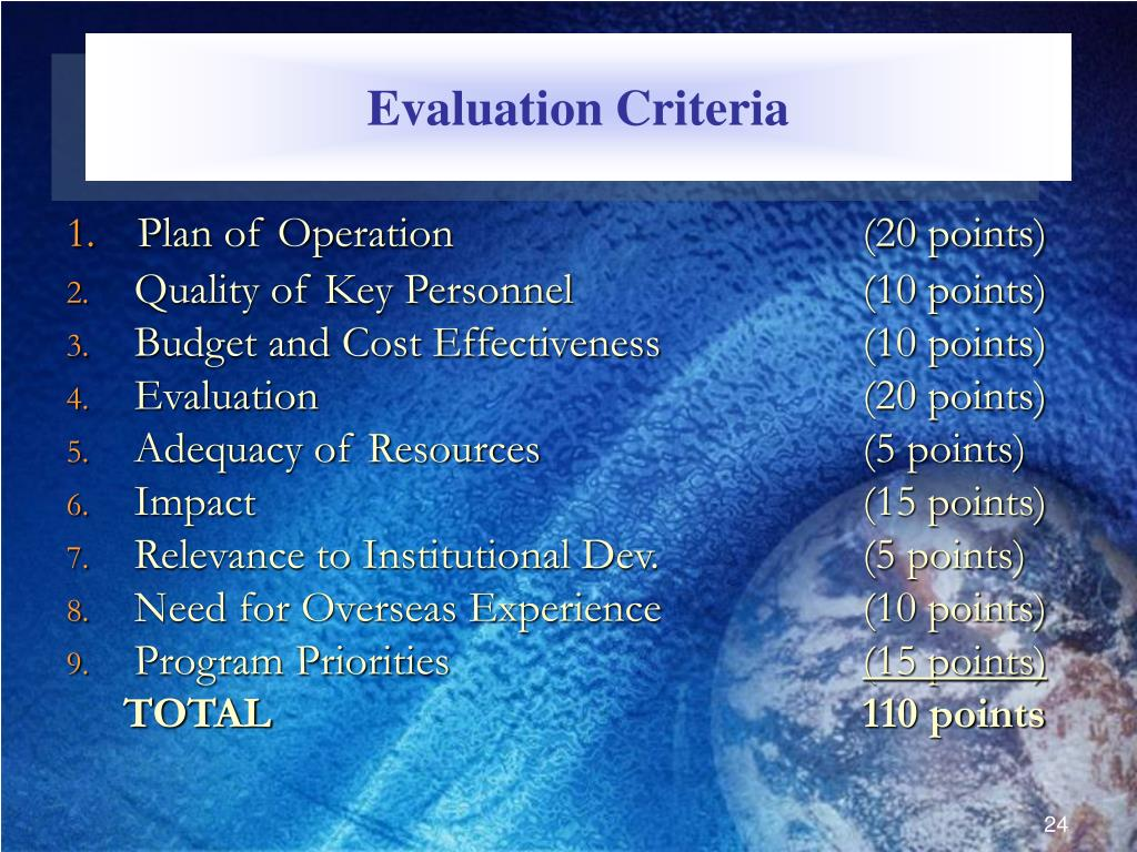 Evaluation Criteria
