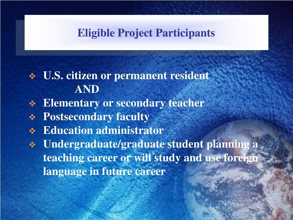 Eligible Project Participants