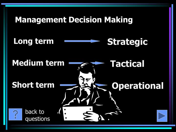 management and decision making Management decision making process by victoria duff good decision making involves knowing what will be accepted and enthusiastically supported in your company an unpopular decision can result in apathetic non-compliance or even outright mutiny by managers and employees.