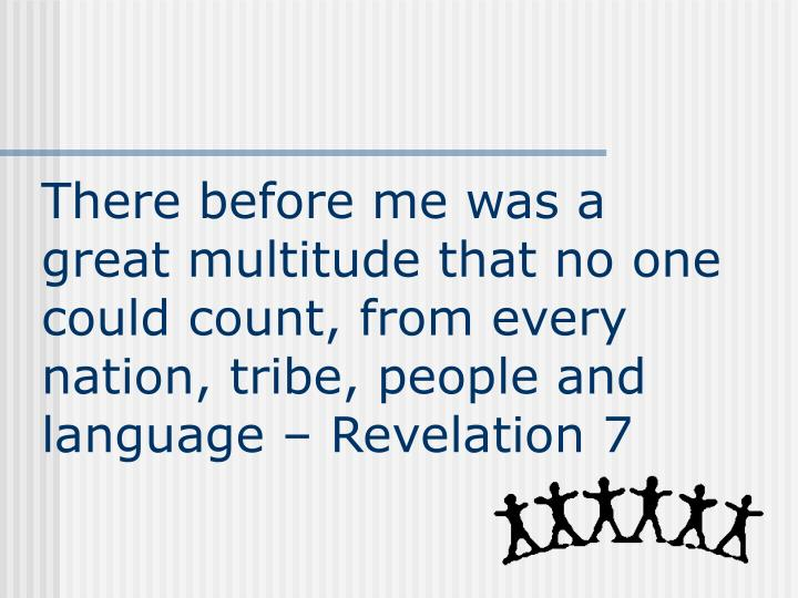 There before me was a great multitude that no one could count, from every nation, tribe, people and language – Revelation 7