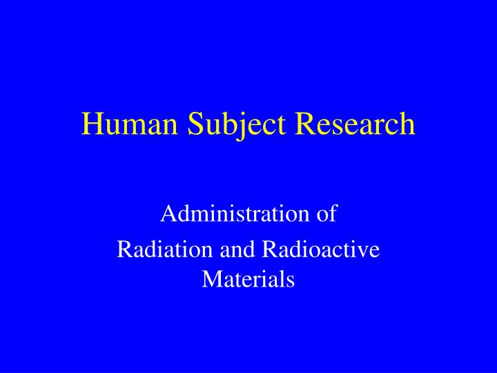 human subject research n.