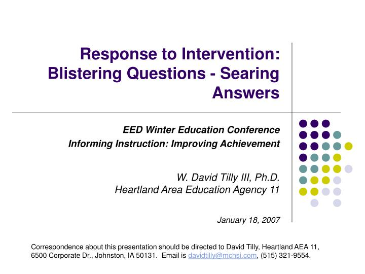response to intervention blistering questions searing answers n.