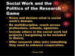 social work and the politics of the research game