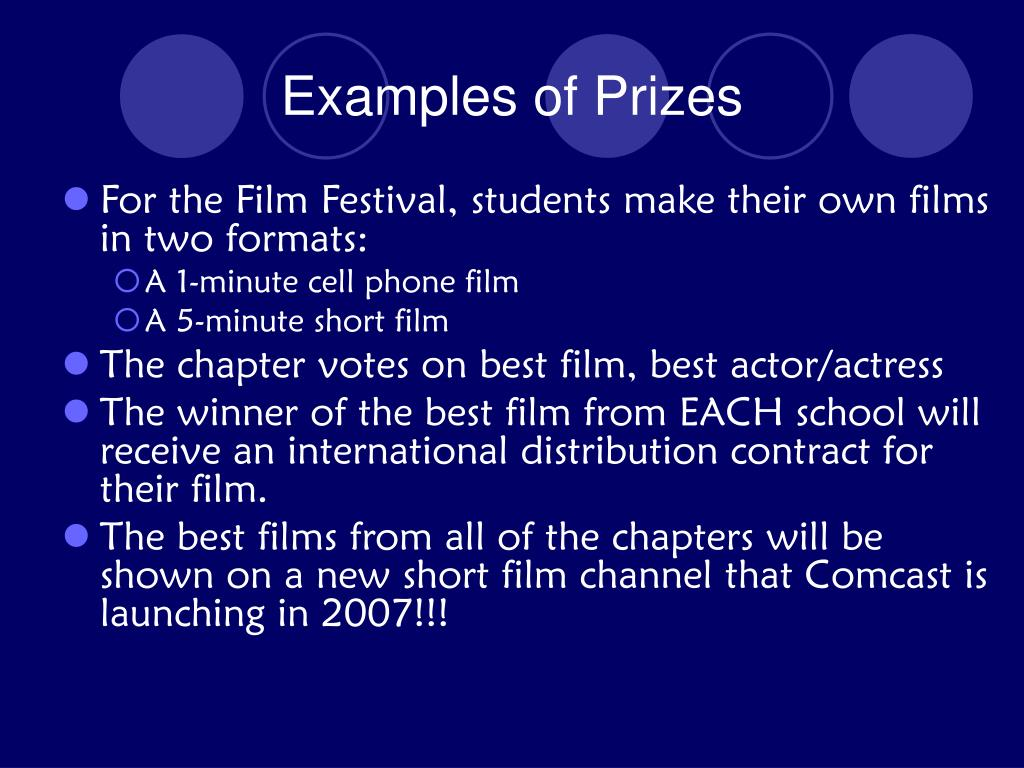 Examples of Prizes