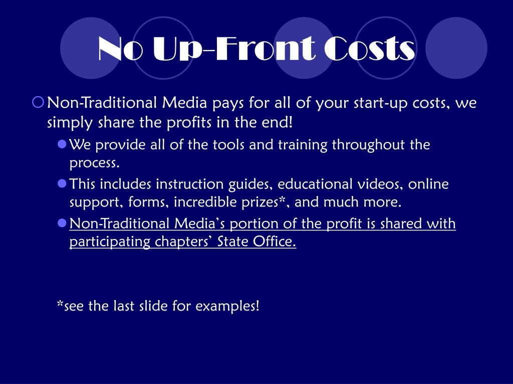 No Up-Front Costs