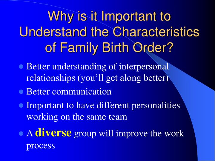 Why is it important to understand the characteristics of family birth order