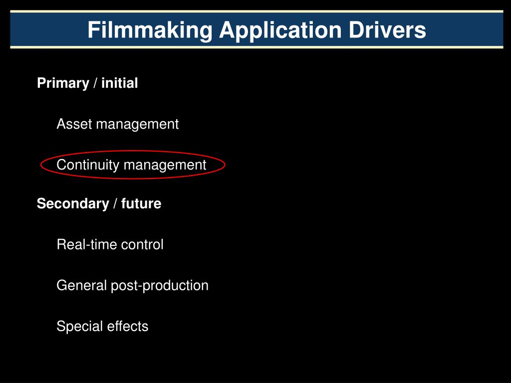 Filmmaking Application Drivers