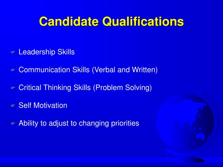 Candidate Qualifications