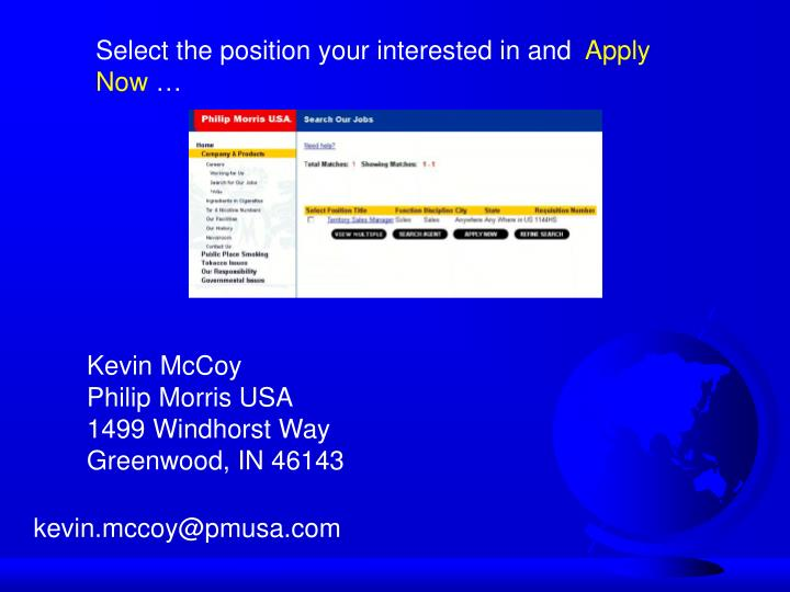 Select the position your interested in and