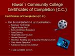 hawai i community college certificates of completion c c