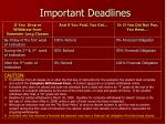 important deadlines