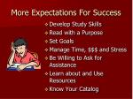 more expectations for success