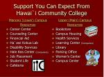 support you can expect from hawai i community college