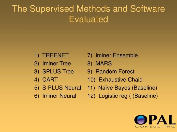 The Supervised Methods and Software Evaluated