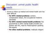 discussion unmet public health needs